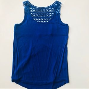 Cynthia Rowley Blue Tank with Knitted Back Small